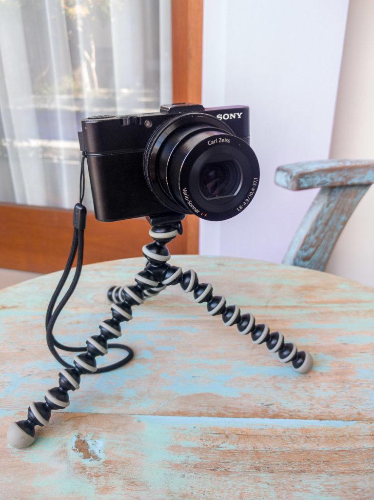 Meine Fotoausrüstung, eine Sony RX100M2 auf einem Joby Pod